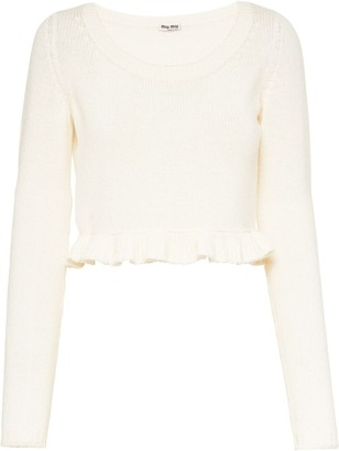 Miu Miu Ruffled Hem Crop Jumper