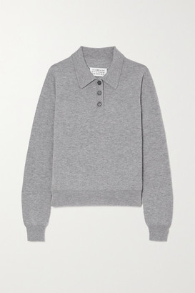 Maison Margiela Embroidered Wool Polo Shirt - Gray