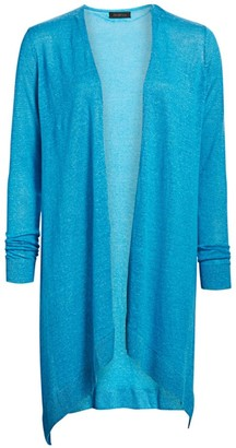 Saks Fifth Avenue COLLECTION Silk & Linen Longline Open-Front Cardigan