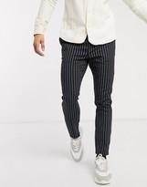 Asos Design DESIGN skinny pants in black pinstripe