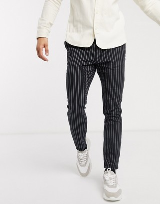 Asos DESIGN skinny pants in black pinstripe