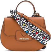Love Moschino small satchel bag with printed shoulder strap
