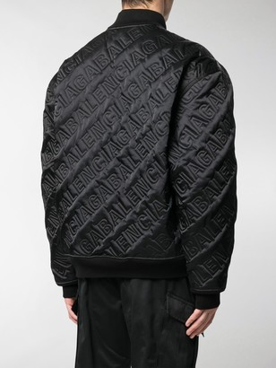Balenciaga Quilted embroidered logo bomber jacket