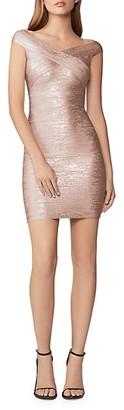 Herve Leger Off-The-Shoulder Metallic Bandage Dress