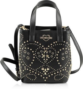 Love Moschino Black Studded Eco Leather Small Tote Bag w/Shoulder Strap