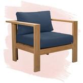Gillian Teak Patio Chair with Cushion Foundstone Cushion Color: Canvas Charcoal