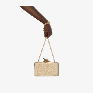 Sophia Webster gold tone Clara glitter clutch bag