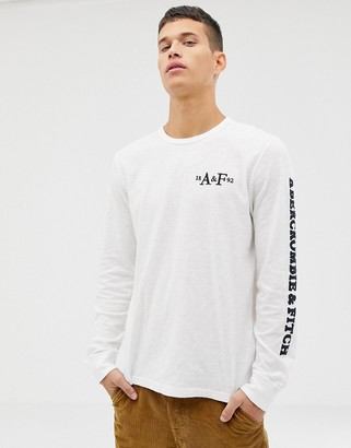 Abercrombie & Fitch sleeve logo long sleeve top in white