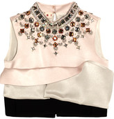 Marni Cropped Embellished Silk-satin And Crepe Top - Blush