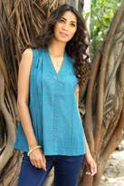 Turquoise Sleeveless Cotton V-Neck Blouse with Sequins, 'Teal Sparkle'
