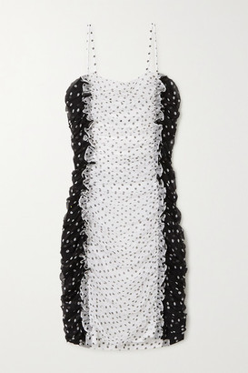 House of Holland Ruffled Polka-dot Silk-chiffon Mini Dress - White