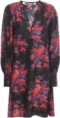 McQ Floral-print Silk-jacquard Mini Dress