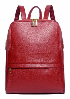 Coolcy Hot Style Women Real Genuine Leather Backpack Fashion Bag (Wine)