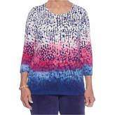Alfred Dunner 3/4 Sleeve Crew Neck Dots T-Shirt-Womens