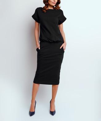 NAOKO Women's Casual Dresses BLACK - Black Side-Pocket Blouson Dress - Women & Plus