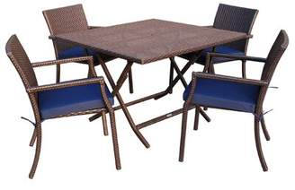 Jeco Inc. 5 Piece Dining Set with Cushion Jeco Inc. Fabric: Blue
