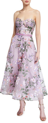 Marchesa Strapless Sweetheart Lattice Embroidered Dress w/ 3D Flowers