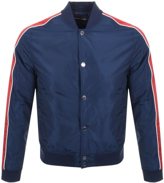 Michael Kors Stripe Baseball Jacket Navy