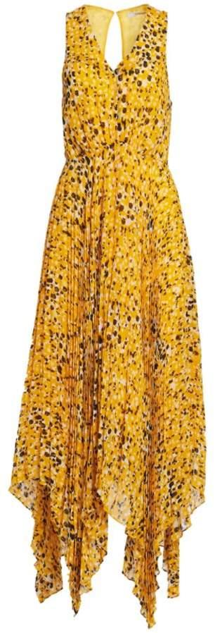 Derek Lam 10 Crosby Sleeveless Animal Print Pleated Dress