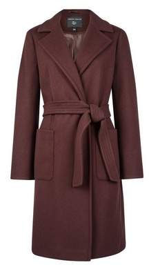 Dorothy Perkins Womens Chocolate Patch Pocket Wrap Coat