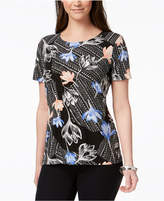 JM Collection Short-Sleeve Foil Print Top, Created for Macy's