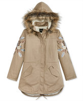 GUESS Faux-Fur Hooded Embellished Canvas Coat, Big Girls (7-16)