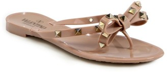 Valentino Rockstud Bow Jelly Thong Sandals