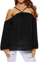 Mulisky Womens Long Sleeve Off Shoulder Tops Casual Halter Blouse T-shirt