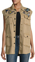 Cinq à Sept Clothing Canyon Embellished Button-Front Vest, Neutral Pattern