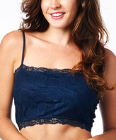 Pure Style Girlfriends Navy Floral Lace Wireless Cami Bra - Plus Too