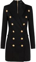 Balmain Double-breasted Basketweave Cotton-blend Mini Dress - Black