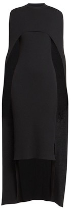 Givenchy Fine Ribbed Removable Cape Midi Dress