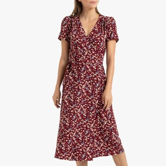 La Redoute Collections Floral Print Wrapover Midi Dress with Short Sleeves