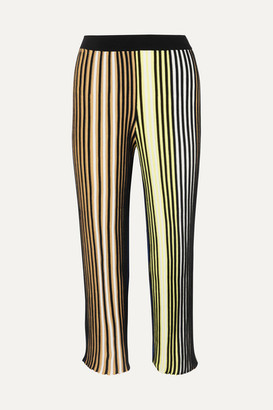 Kenzo Cropped Striped Ribbed-knit Flared Pants - Black