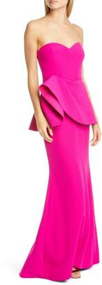 Badgley Mischka Asymmetrical Peplum Gown