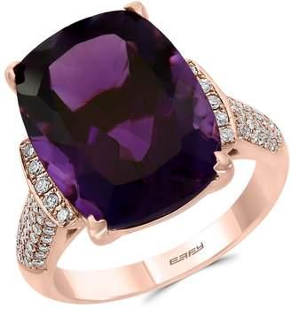 Effy Colour 14K Rose Gold, Amethyst 0.27 CT. T.W. Diamond Ring