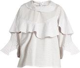 Awake Funnel-neck ruffled checked cotton shirt