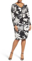 Adrianna Papell Ruched Floral Jersey Sheath Dress (Plus Size)