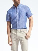 Banana Republic Camden-Fit Dot Linen Short-Sleeve Shirt