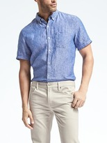 Banana Republic Camden-Fit Short-Sleeve Dot Linen Shirt
