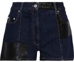 McQ Faux Leather-paneled Denim Shorts