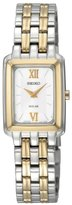 Seiko Women's SUP010 Two-Tone Solar Silver Square Dial Watch