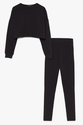 Nasty Gal Womens Take a Break Cropped Sweatshirt and Leggings Set - Black - 6