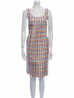 Marni Plaid Print Knee-Length Dress Orange