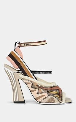 Fendi Women's Neoprene & Ankle-Wrap Sandals - Beige, Khaki