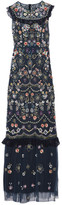 Needle & Thread Ruffle-trimmed Embellished Tulle Maxi Dress - Navy