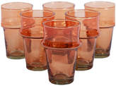 One Kings Lane Set of 6 Beldii Moroccan Glasses - Orange