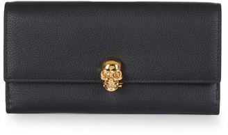 Alexander McQueen Pebbled Leather Flap Continental Wallet
