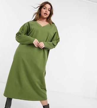 ASOS DESIGN Curve sweat midi dress with v-neck in khaki