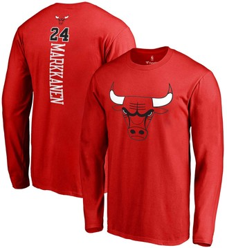 Men's Fanatics Branded Lauri Markkanen Red Chicago Bulls Backer Name & Number Long Sleeve T-Shirt